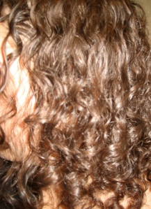My hair a few nights ago, a couple of days after my last shampoo, air-dried.