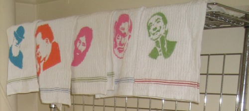 "My hand-stenciled ""Famous Facial Hair Dudes Throughout History"" kitchen towel set. Can you tell I had a lot of time on my hands before the move? More pertinently: can you identify all five Famous Facial Hair Dudes?!"