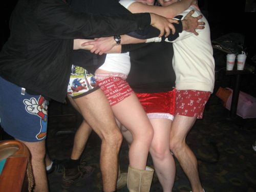 Taken during the pantsless bar crawl. The Christmas-themed boxers in the middle belong to Giggly Girls.