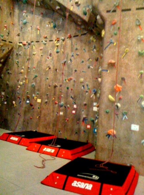 All of the action shots of me climbing are obscured by the ZOOM MARKS of friggin' five-year-olds scampering along the wall. Bastards.